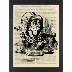 Alice in wonderland Mad Hatter at tea party vintage drawing Dictionary Art Print
