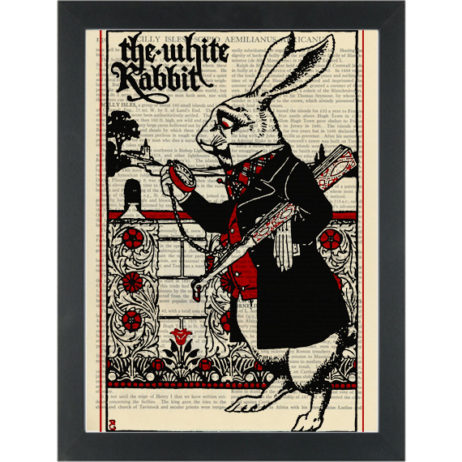 Alice in wonderland The White Rabbit vintage drawing Dictionary Art Print