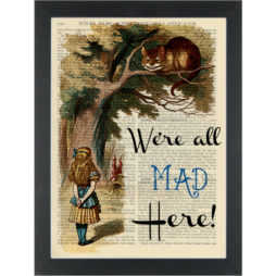 're all mad here Cheshire cat in the tree Dictionary Art Print