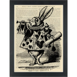 Alice in wonderland White Rabbit vintage drawing Dictionary Art Print