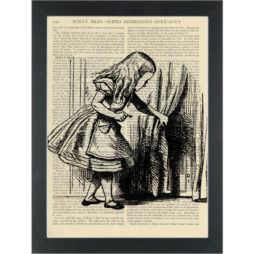 Alice in wonderland door behind the curtain vintage drawing Dictionary Art Print