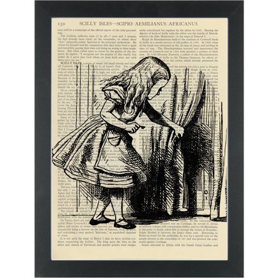 Alice in wonderland door behind the curtain vintage drawing Dictionary Art Print  sc 1 st  PAGE TURNER & Alice in wonderland door behind the curtain vintage drawing ...
