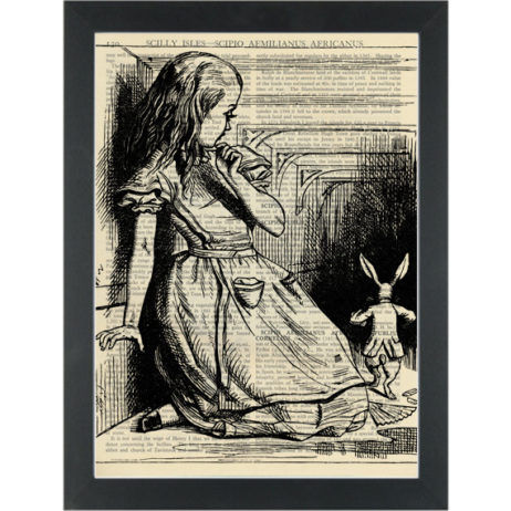 Alice in wonderland rabbit down the hall vintage drawing Dictionary Art Print