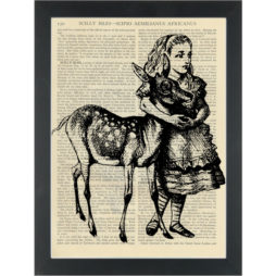 Alice in wonderland vintage drawing with fawn Dictionary Art Print