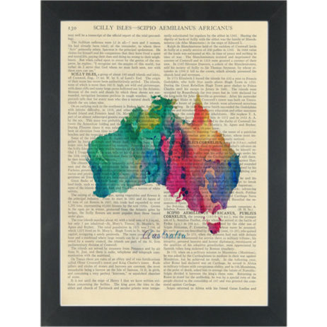 Australia Map Water Color Dictionary Art Print