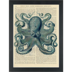 Blue Octopus Vinatge Drawing Dictionary Art Print