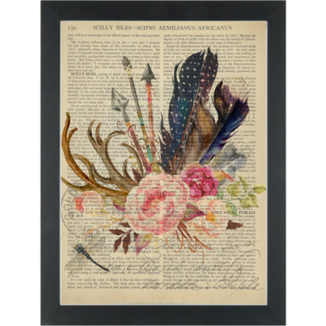 Boho Chic Flower Feather Antlers Dragonfly Dictionary Art Print