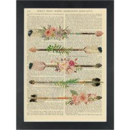 Boho Chic Flower Feather Arrows Dictionary Art Print