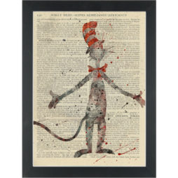 Cat in the Hat water color Dictionary Art Print