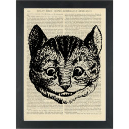 Chershire Cat Alice in wonderland vintage drawing Dictionary Art Print