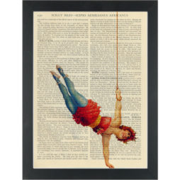 Circus Acrobat vintage drawing Dictionary Art Print