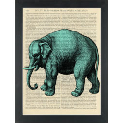 Circus blue elephant Dictionary Art Print