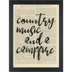 Country Music and a Campfire Quote Dictionary Art Print