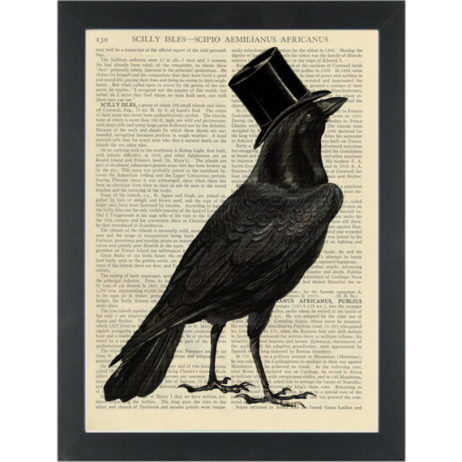 Crow wearing top hat Dictionary Art Print