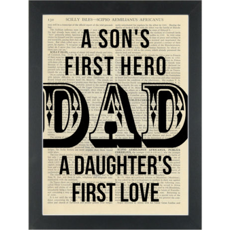 DAD quote hero and love for father Dictionary Art Print