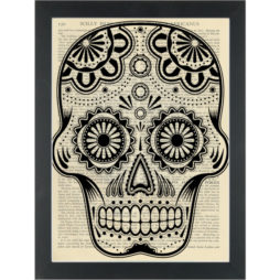 Day of the dead Sugar Skull Dictionary Art Print