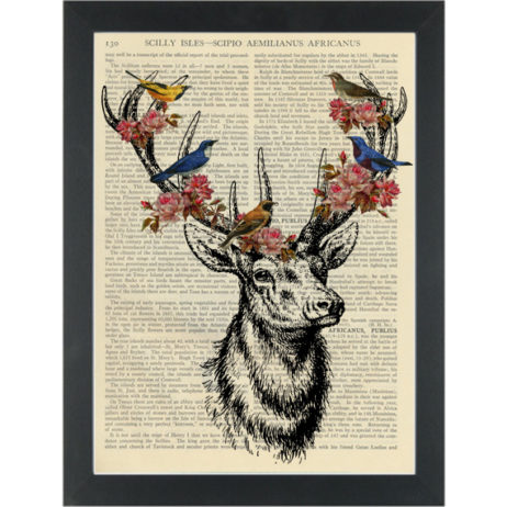 Deer antlers with birds and flowers Dictionary Art Print