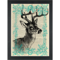 Deer drawing in a blue frame Dictionary Art Print