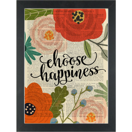 Flower Choose Happiness quote Dictionary Art Print