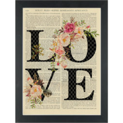 Flower and feather boho chic LOVE Dictionary Art Print