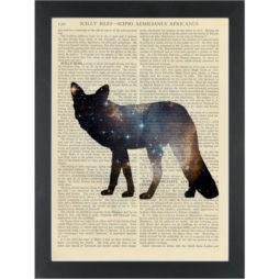 Fox with galaxy body Dictionary Art Print