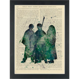 Harry Potter Silhouette Watercolour Dictionary Art Print