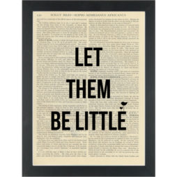 Inspirational Happy Quote Nursery Let Them Be Little Dictionary Art Print