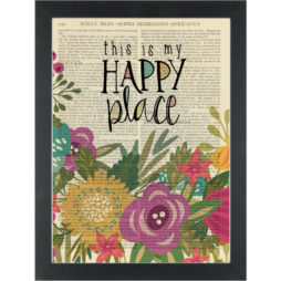 Inspirational flower quote Happy Place Dictionary Art Print