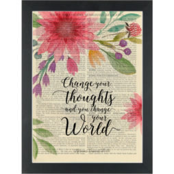 Inspirational quote Change your thoughts change your world with flowers Dictionary Art Print