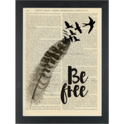 Insprational Be Free feather and birds Dictionary Art Print