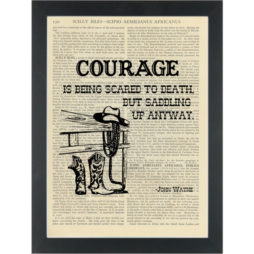 John Wayne Courage Quote Dictionary Art Print