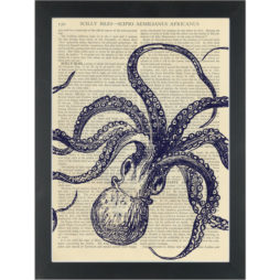 Kraken blue upside down set Dictionary Art Print