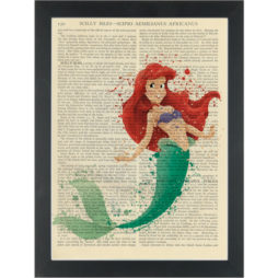 Little Mermaid Ariel Water Color Dictionary Art Print
