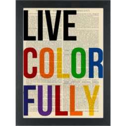 Live colorfully inspirational quote Dictionary Art Print