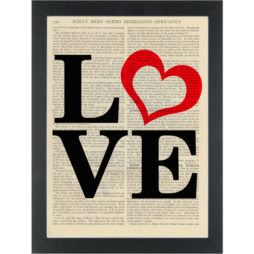 Love with red heart Dictionary Art Print
