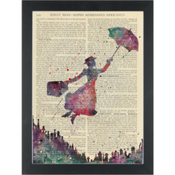 Mary Poppins water color Dictionary Art Print