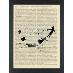 Peter Pan and kids flying black water color silhouette Dictionary Art Print