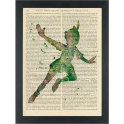 Peter Pan green water color silhouette Dictionary Art Print
