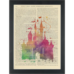 Princess Fantasy Castle Water Color Dictionary Art Print
