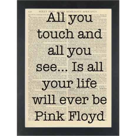 Quote by Pink Floyd All you Touch Dictionary Art Print