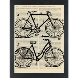 Retro bikes Dictionary Art Print