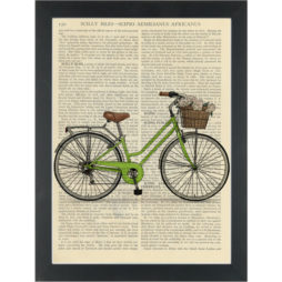 Retro green bike with basket Dictionary Art Print