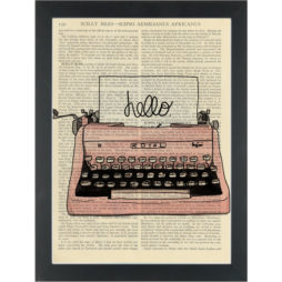 Retro pink typewriter Dictionary Art Print