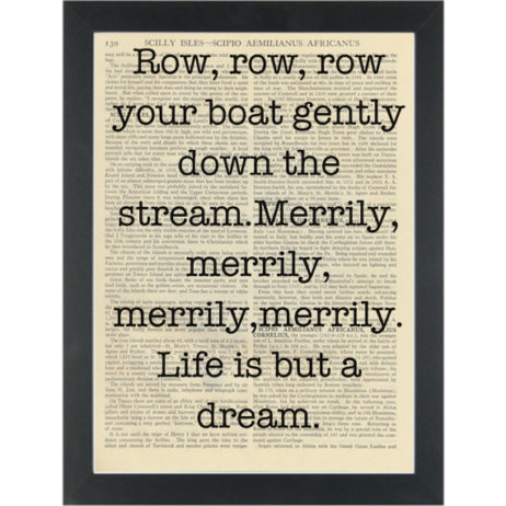 Row Row Row Your Boat Song Quote Dictionary Art Print