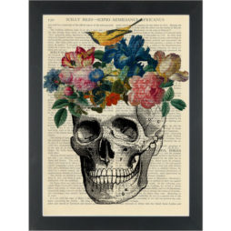 Skull Vase anatomy drawing with flowers and bird Dictionary Art Print