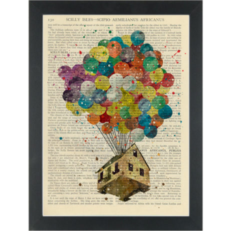 Up balloons rainbow water color Dictionary Art Print