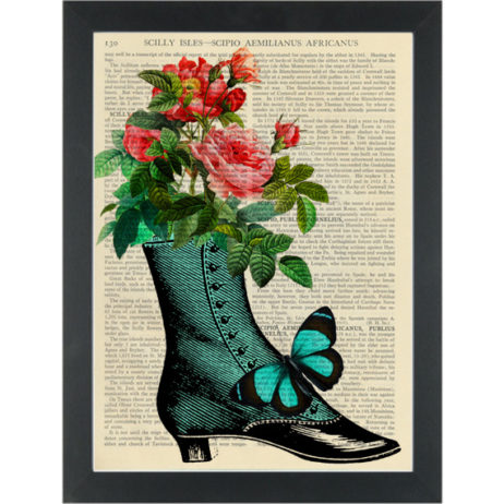 Vintage blue shoe with butterfly and flowers Dictionary Art Print