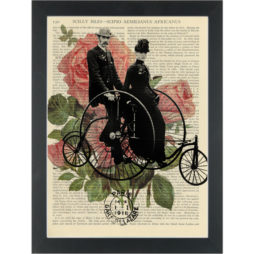 Vintage pennyfarthing with riders and flowers Dictionary Art Print