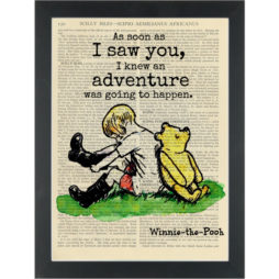 Winne the pooh Adventure Quote Christopher Robbin Dictionary Art Print