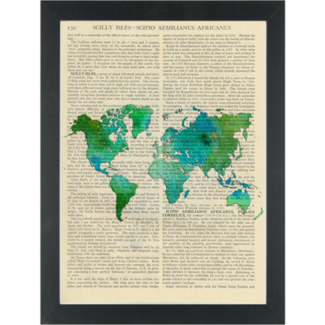 World map water color green Dictionary Art Print